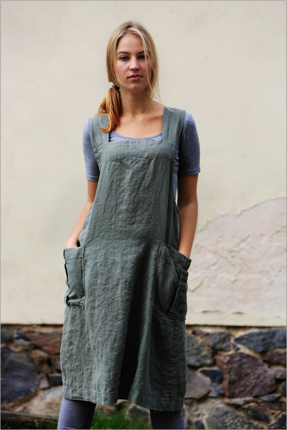 Linen Pinafore Apron Square Cross Linen Apron Japanese