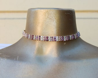 Free Shipping, Crystals silver Choker, Choker Necklace, Statement Choker, Necklace, purple choker, lilac choker, 3 row choker, medium choker