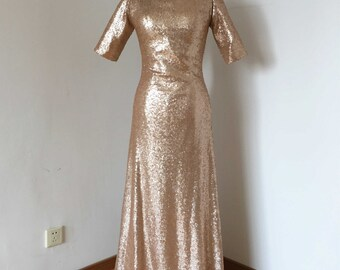 Short Sleeves Matte Champagne Gold Sequin Long Bridesmaid Dress