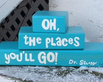 Oh the places you'll go (Dr. Seuss) - wooden blocks nursery decor, decorative baby blocks, baby gift, inspirational playroom art, library