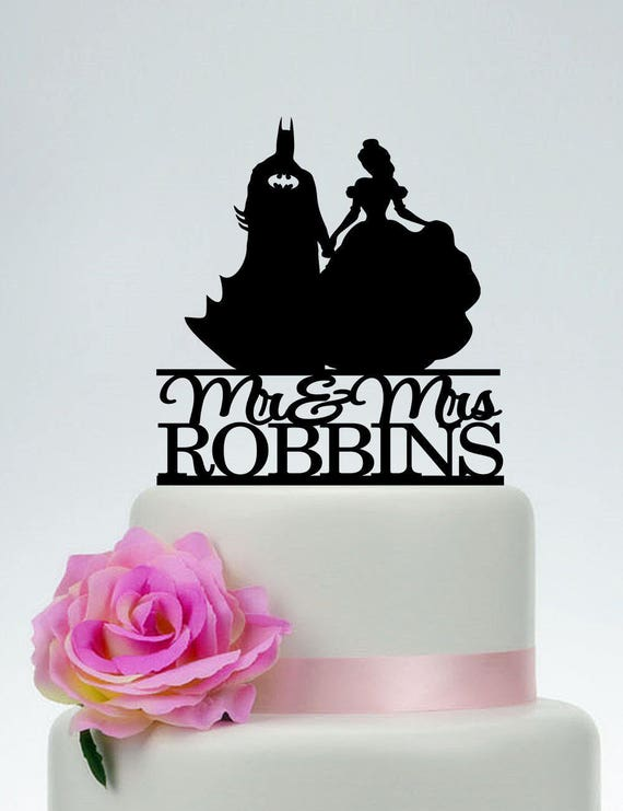 Beauty and the Beast Silhouette Wedding Cake Toppers