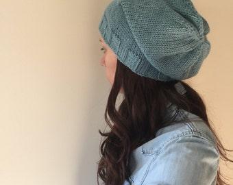 Slouchy Beanie Hand Knit - Sea Blue (Adult)