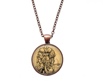 Knight necklace Medieval pendant Vintage jewelry