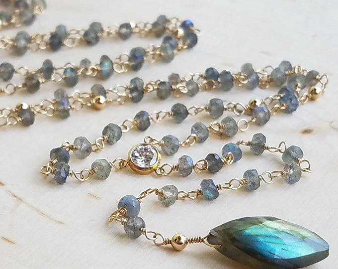 Featured listing image: Labradorite Beaded Rosary Lariat Necklace with Cubic Zirconia and Marquis Labradorite