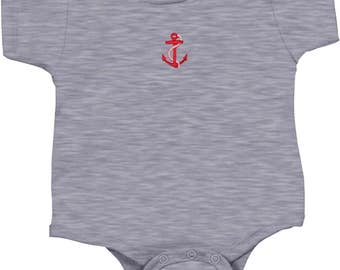 Kid's Red Anchor Patch Middle Print Onesie REDANCHOR-MP-4438