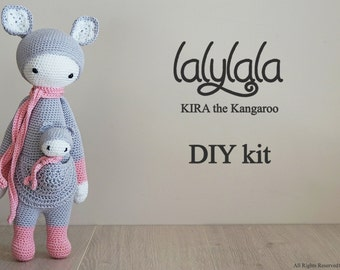 Lalylala Kira pattern - DIY Kit-  Pink Kira the Kangaroo - DIY Crochet Kit - Lalylala pattern - DIY Craft - Material kit - Gift for girl