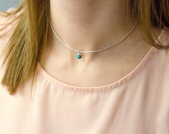 Birthstone choker necklace, Turquoise Choker Necklace,  Layered Necklaces, tiny gemstone necklace, Turquoise necklace