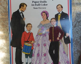 Original Vintage Abraham Lincoln and his family Paper Dolls Uncut/ In Full Color