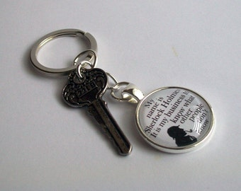 Sherlock Holmes Keychain ~ with 221B Key Charm ~ Sherlock Holmes Keyring ~ It is my business to know... ~ Sherlock Bag Charm