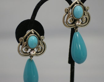 Large Faux Turquoise Teardrop, Cabochon, and Rhinestone Pierced Earrings