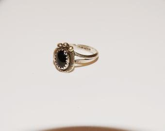 Navajo Sterling Silver Stamped Black Onyx Ring.