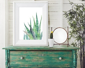 Watercolor Cactus - Cacti and Succulents - Watercolor Modern Natural Art Print - Zen Green Art - Nature Illustration