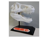 Dinosaur T-Rex Skull with Base & Nametag - High Quality - Great for kids and adults - 3D Printed - Halloween Gift