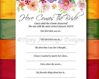 Bridal Shower Game, Here Comes The Bride, Floral Bridal Shower, Shabby Chic, Flowers, Watercolors, Printable, Instant Download T319A