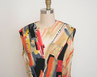 1970's Painterly Pattern Sleeveless Tank - Scoop Neck - Boxy - Jackson Pollock - Paint Stroke - Paint Splatter - Artist - Women's Medium