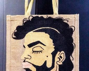 Prince Burlap Tote Bag
