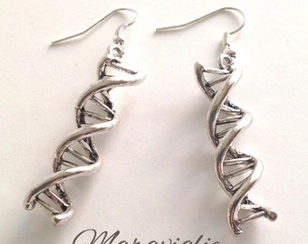 DNA Earrings, Double Helix Earrings, Science Jewelry