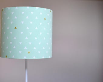 Mint green lampshade, mint and gold, mint green home decor, handmade lampshade, geometric decor, geometric table lamp, gold home decor, lamp