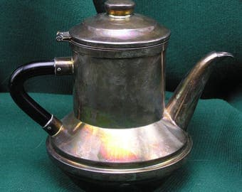 Vintage Silverplate Restaurant/Hotel Teapot - mid-century modernist with double strainer/infuser inserts
