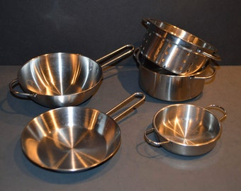 5 Piece Collection of Child's Pretend Play Stainless Steel Cookware