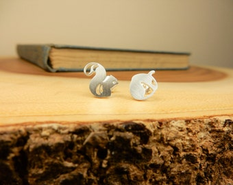 Squirrel Earrings, Acorn Studs, Silver Earrings, Gift for Animal Lover, Nature Jewellery, Woodland Animal