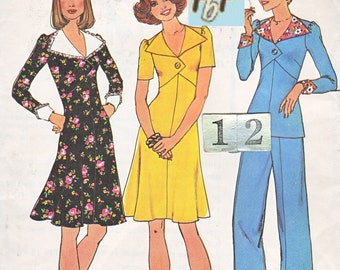 1970's Mod collared Empire Waist Dress, Suit/ Simplicity 7134 Womens Wing Collar, A line Dress, Top Pants Sewing pattern/ Size 12 Bust 34