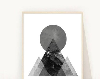 Geometric Art, Printable Art, Geometric Print Art, Minimalist Art, Grey Geometric Print, Digital Download, Modern Wall Art, Wall Decor