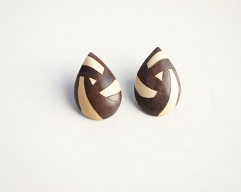 Vintage Clip On Earrings, Wooden Clips, Drop Clips, Geometric Clips, Retro Clips, Ethnic Clips, 90s Vintage Clips
