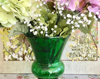 Green Glass Vase Large Vase Wedding Centerpiece Vase for Wedding Bouquet Vase Green Decor Emerald Green Decor Baby Shower Centerpiece