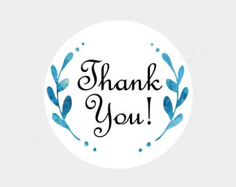 Thank You Wreath Envelope Seals Stickers Labels (3 Size Options)