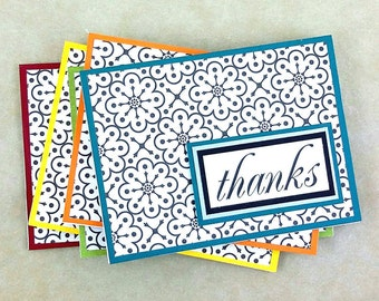 Thank You Note Cards, Set of 5, Handmade Note Card, Blank Thank You Notes, Thank You Card Set, Wedding Thank You Cards, Stationery Set