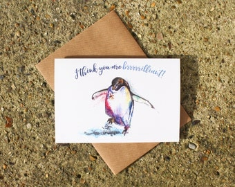 Penguin Greetings Card ~ penguin birthday card, penguin anniversary card, penguin thank you card, pun card, funny birthday card, funny card