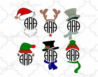 Santa Hat Elf Christmas Monogram Cuttable Design SVG Snowman face SVG File digital cut file Snowman svg, Dxf, Eps, Png Instant Download