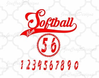 Softball Mom SVG Design Bundle Numbers monogram Frame svg cut files for Silhouette, Cricut and other Vinyl craft Cutters, Svg, Eps, Png, Dxf