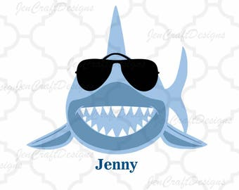 Shark with sunglasses svg - shark svg, Dxf, Eps, printable png. Cricut Design Space, Silhouette, Digital Cut Files, Instant Download