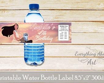 Pocahontas water bottle label, Pocahontas birthday party, Pocahontas birthday, Pocahontas bottle wraps, Pocahontas labels, Pocahontas theme