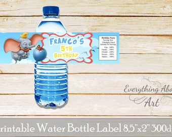 Dumbo water bottle labels, Dumbo birthday, Dumbo party labels, Elephant water bottle wraps, Elephant birthday party labels, Printable labels