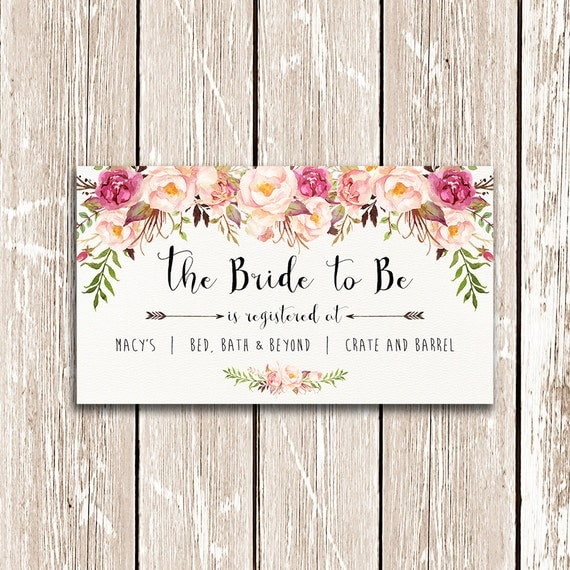Bridal Shower Registry Card The Bride To Be Printable Floral Wedding Baby Gifts