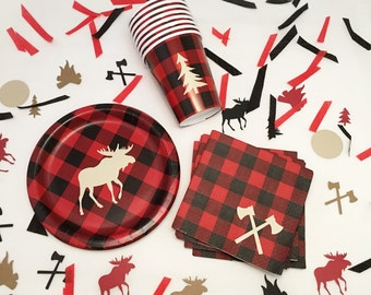 32-Set Lumberjack First Birthday - Lumberjack Baby Shower - Party Supplies - Flannel - Lumberjack Birthday - Party Plates - Buffalo Plaid