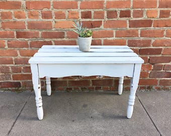 Shabby Chic Slat Bench - White Wood Entryway Bench - Outdoor Bench - Farmhouse Bench - Wooden Bench - Garden Bench - White Wood Slat