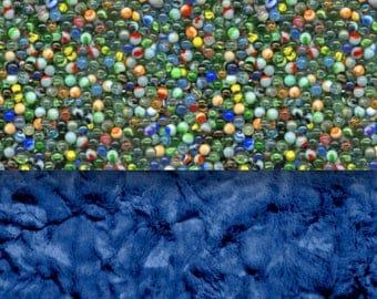 Marble Blanket - Minky Blanket - Designer Minky - Blue