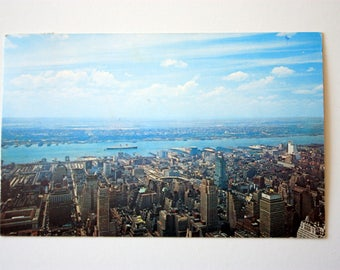 New York City Postcard 1966 / New York Skyline / Queen Mary Postcard