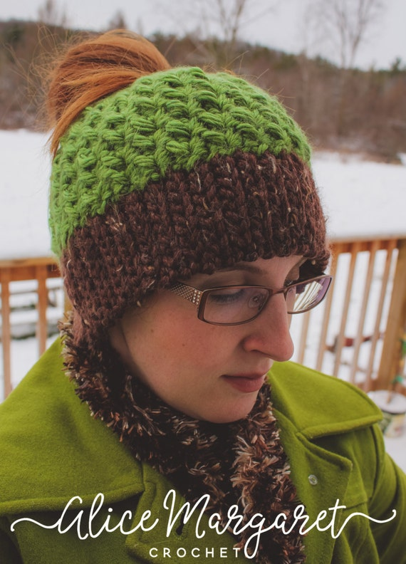 Crochet Bun Hat : Ponytail Hat Messy Bun Hat Made To Order You Pick Colors Any ...