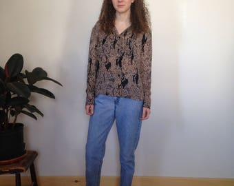 sheer tan and black patterned blouse (m/l)