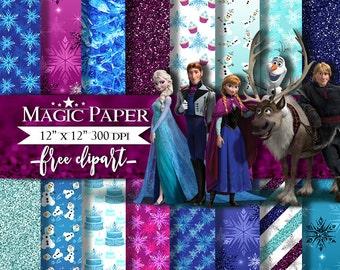 50% OFF SALE Frozen Digital Paper Clipart Clip Art, Anna elsa Olaf Ice Queen Princess