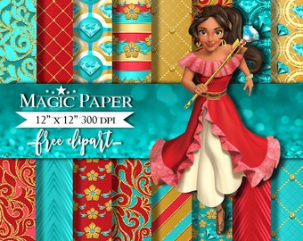 50% OFF SALE Princess Elena of Avalor Digital Paper Papers, Scrapbook, Scrapbooking, Pattern