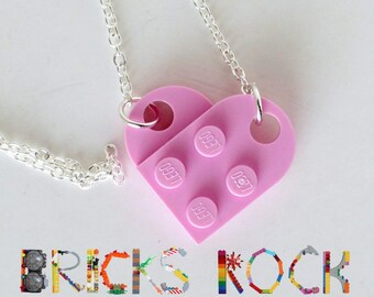 Pink Heart Necklace - Jewelry made with LEGO® pieces
