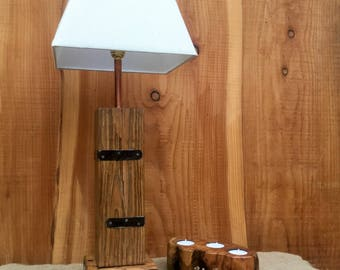Rustic Wood And Steel Lamp Base Made From Reclaimed Wood And Salvaged Steel strapping.