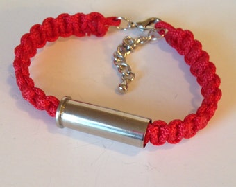 Silver 38 Bullet and Red Para cord Bracelet, Womens jewelry, Bullet jewelry, Handmade jewelry, Upcycled bullets, Womens bracelets