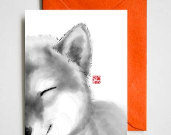 Smiling Shiba face , Unique Sumi-e Painting Print Card, Animal illustration, B&W Asian zen theme, Dog lover, Cute Ink Drawing
